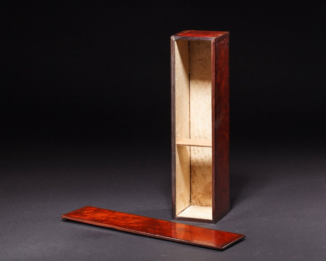 A Chinese Rosewood-Inset burlwood Box and Cover - 3