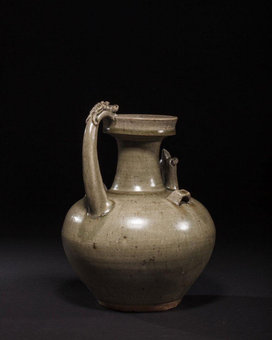A Chinese Green-Glazed Stoneware Ewer - 2