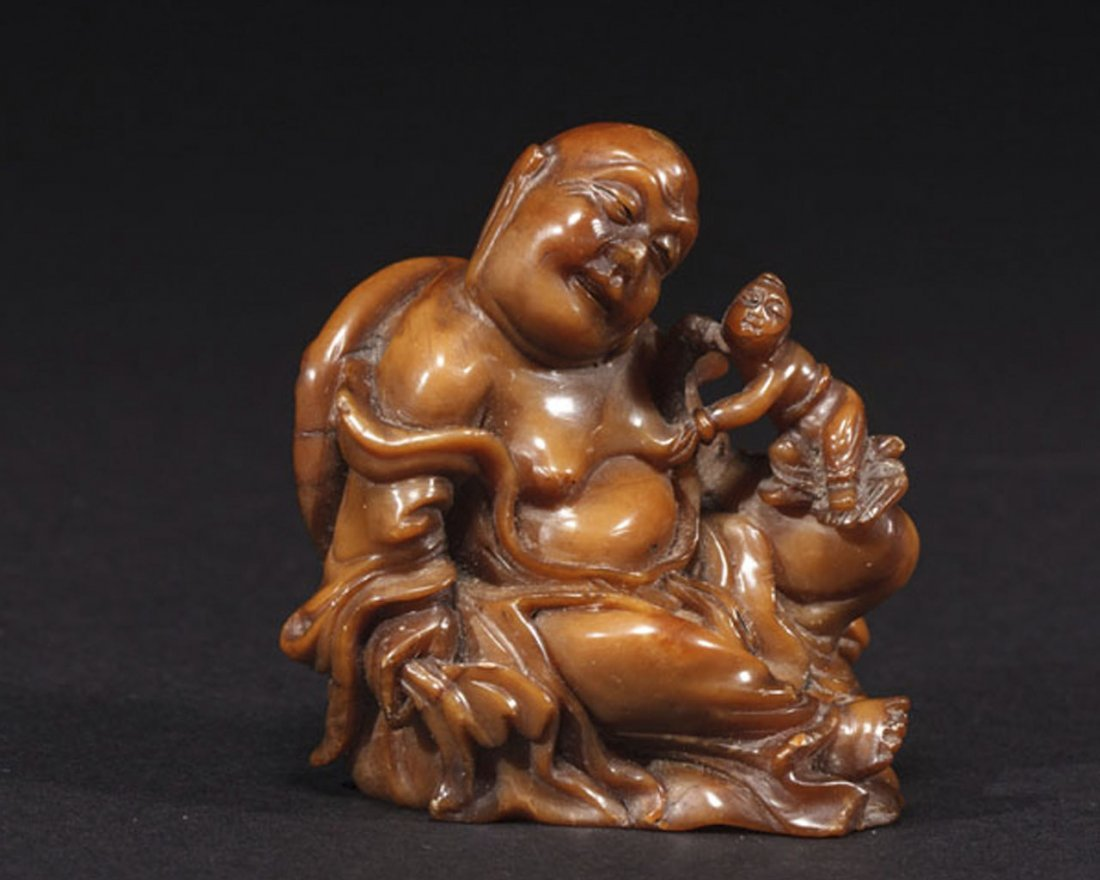 A Chinese Soapstone Figure of a Arhat