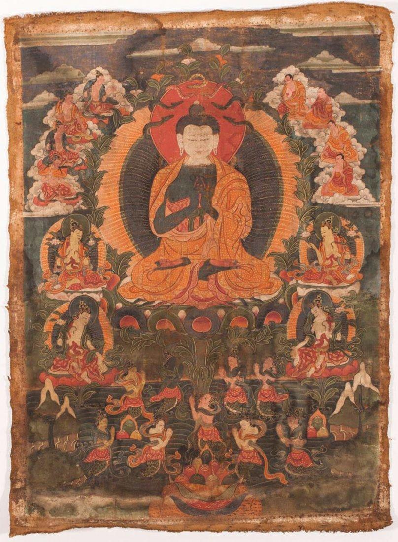 A Tibetan Thangka of Nagaraja Buddha
