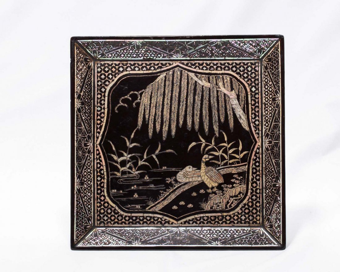 A Chinese Mother-of-Pearl-Inlaid Lacquer Dish - 2