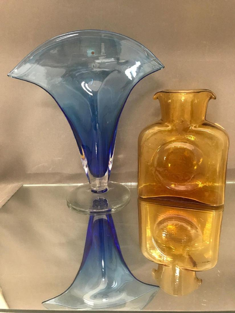 Pair of vintage Blenko Vases tall blue fan vase and - 3