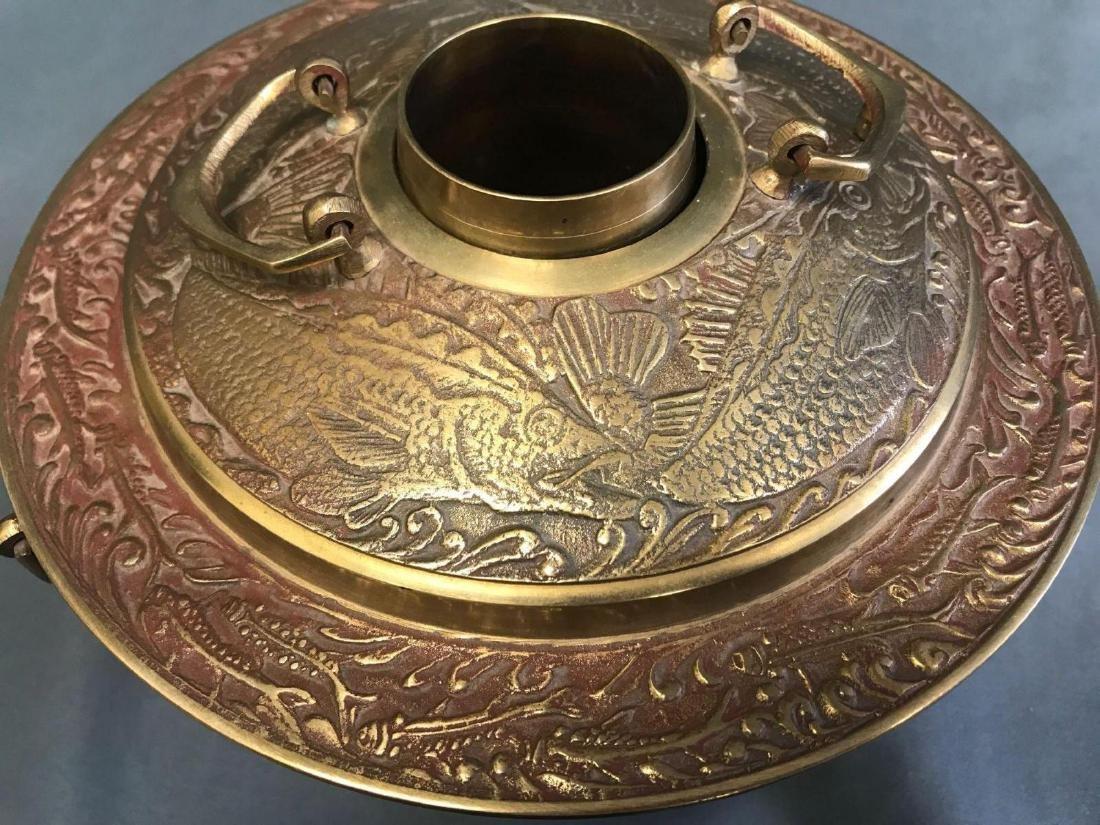 Brass Korean Brazier with fish motifv - 5