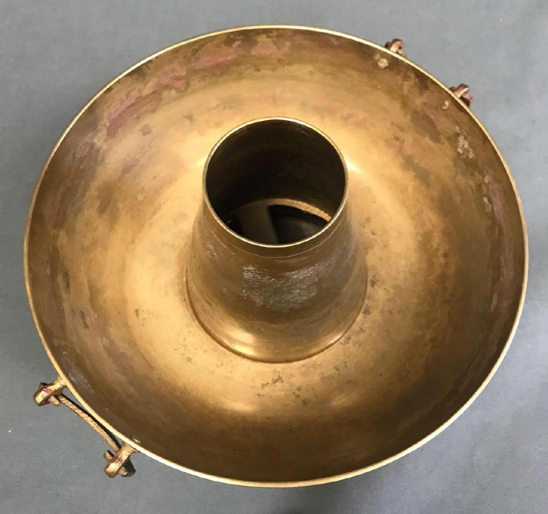 Brass Korean Brazier with fish motifv - 6