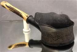 Antique bronze Chinese silk iron with original handle
