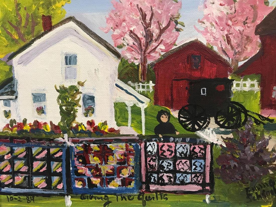 Oil on board signed Amish painting titled Airing the - 3