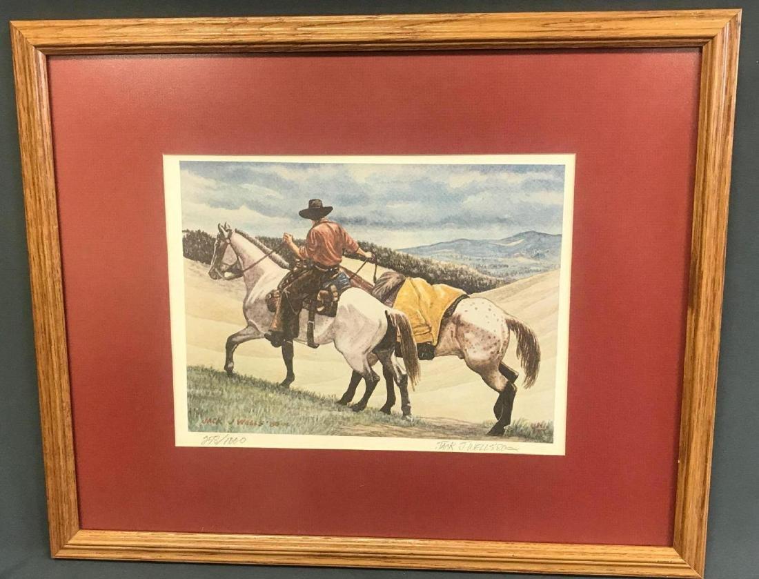 Pencil signed and numbered Jack J. Wells framed print
