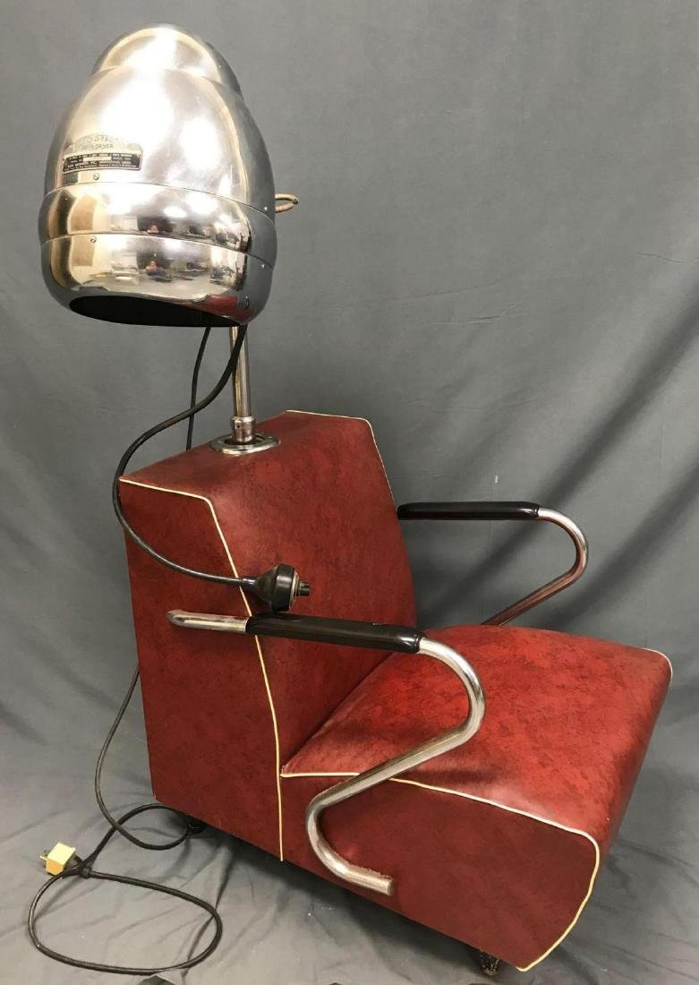 Vintage red and chrome Blue Streak electric hair dryer - 2