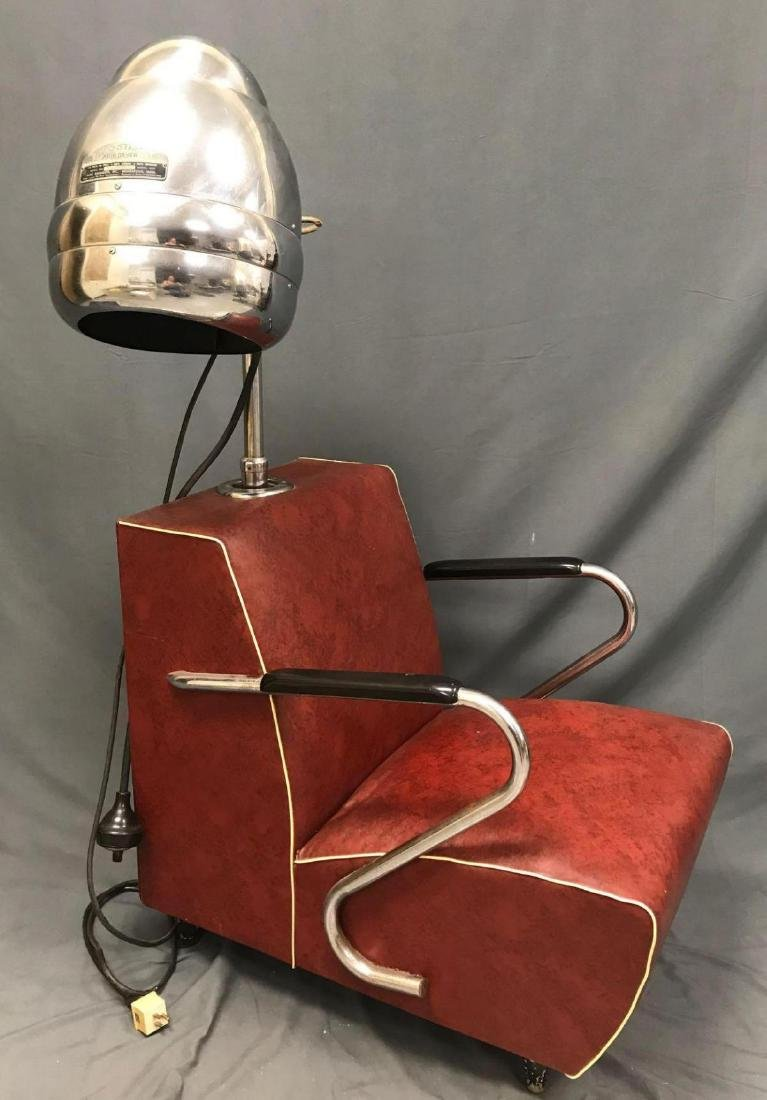 Vintage red and chrome Blue Streak electric hair dryer - 4
