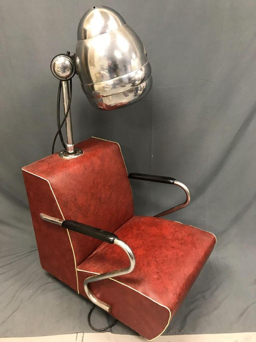 Vintage red and chrome Blue Streak electric hair dryer - 8