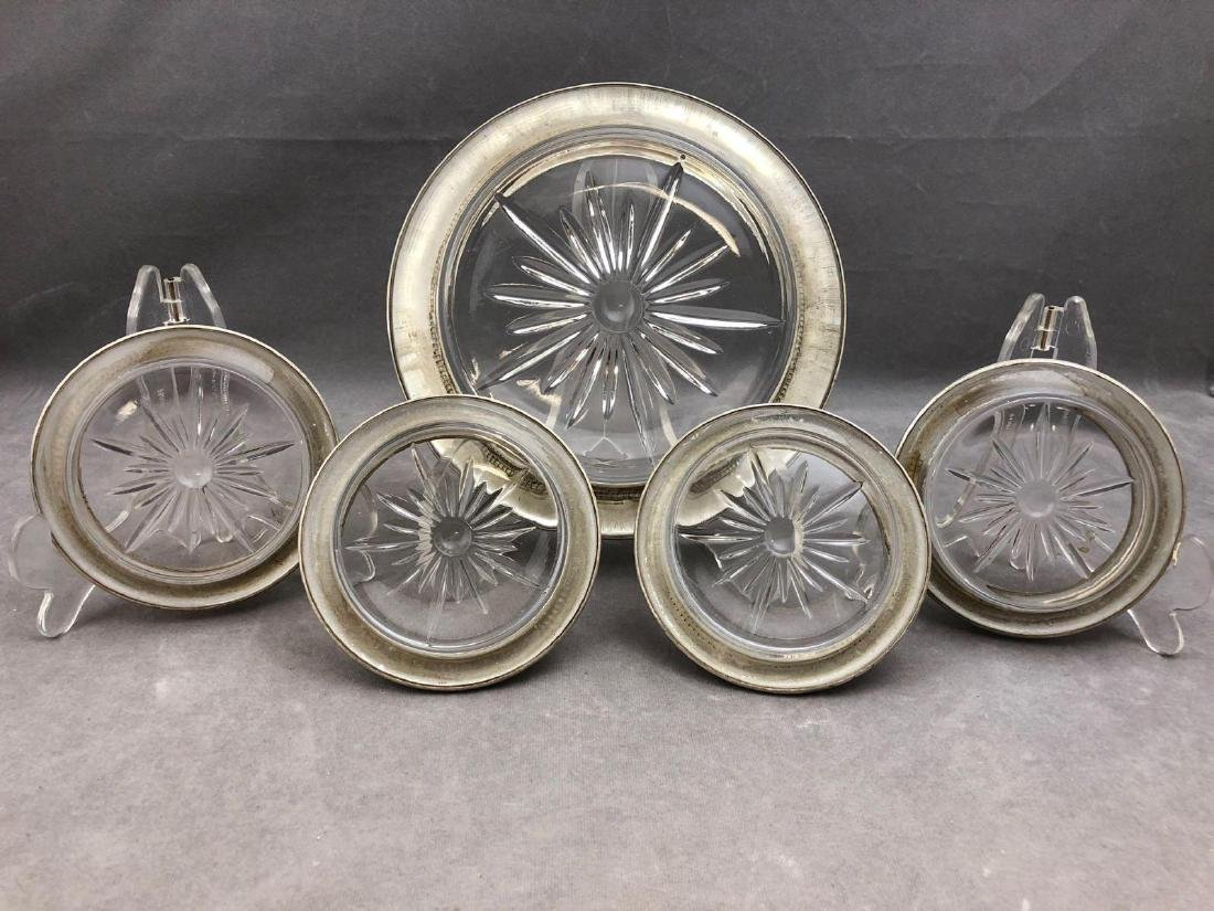 5 piece sterling silver and crystal coaster set by