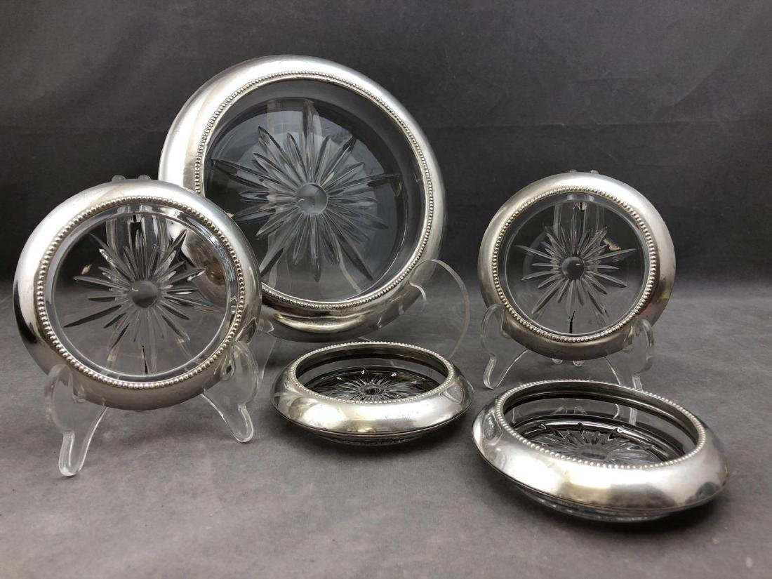 5 piece sterling silver and crystal coaster set by - 2