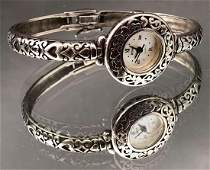Sterling silver and mother of pearl watch