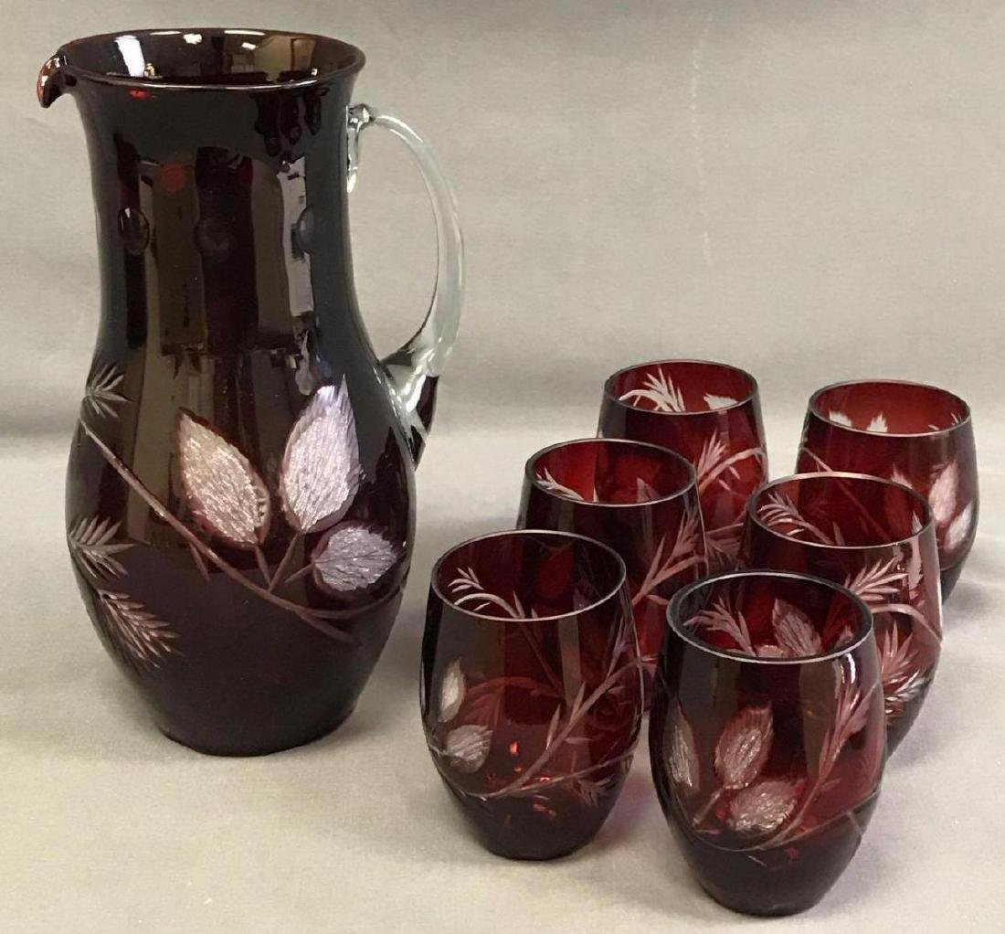 Red cut to clear Bohemian glass pitcher and glasses