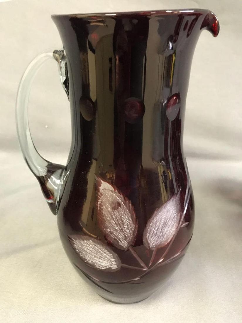 Red cut to clear Bohemian glass pitcher and glasses - 2