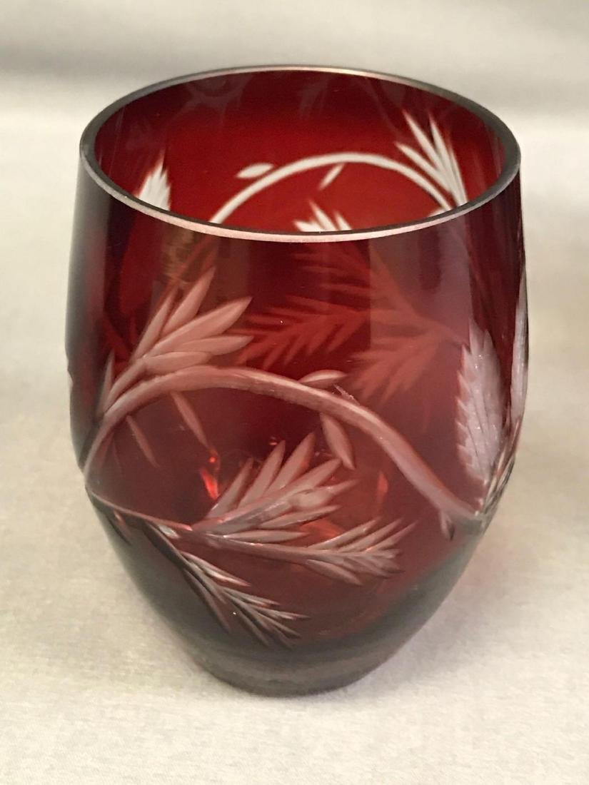 Red cut to clear Bohemian glass pitcher and glasses - 4