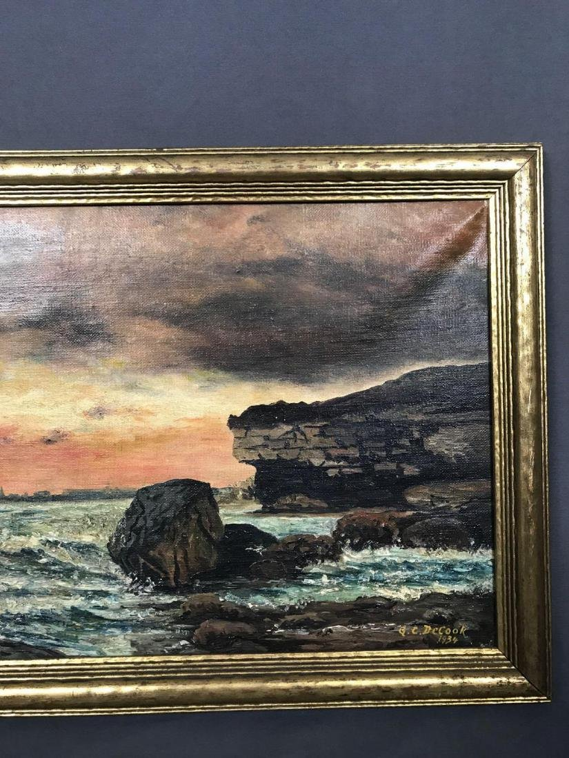 Oil on canvas seascape oceanic art, signed G.C. DeCook - 10
