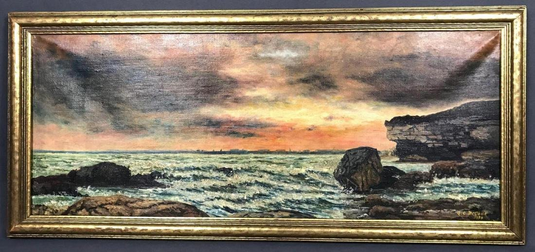Oil on canvas seascape oceanic art, signed G.C. DeCook