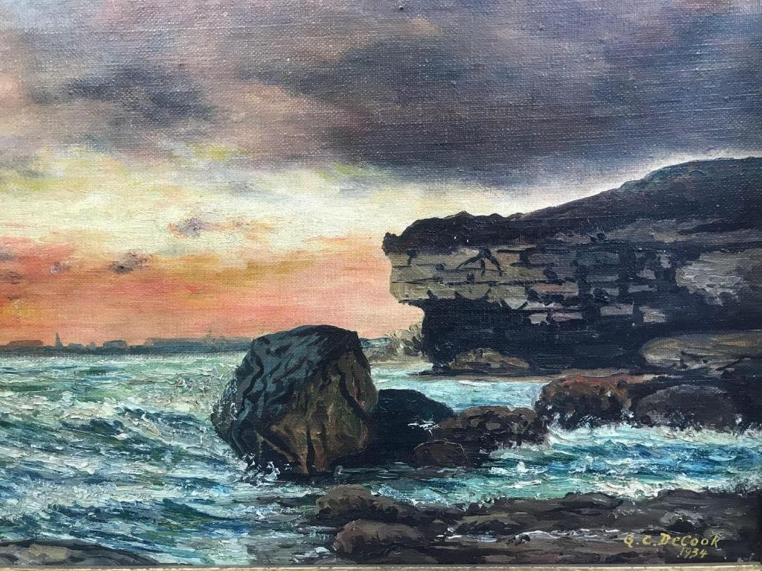 Oil on canvas seascape oceanic art, signed G.C. DeCook - 3