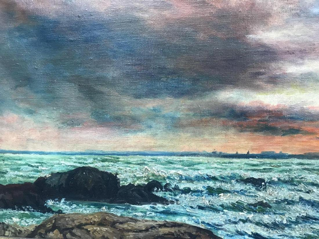 Oil on canvas seascape oceanic art, signed G.C. DeCook - 4