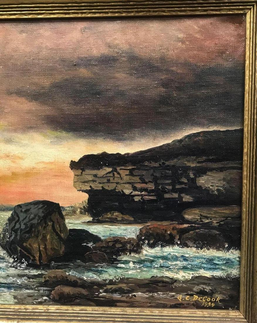 Oil on canvas seascape oceanic art, signed G.C. DeCook - 6