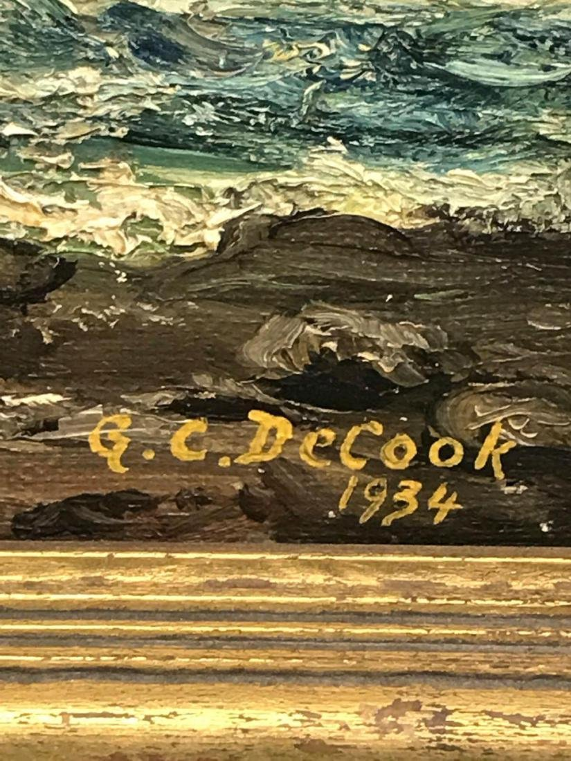 Oil on canvas seascape oceanic art, signed G.C. DeCook - 8