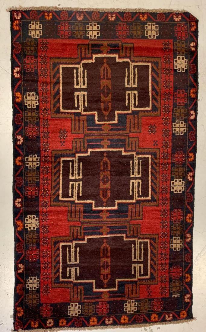 Afghan Wool Hand Woven Rug, 20th C.