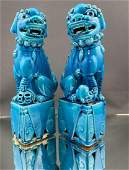 Pair of Chinese Export Turquoise Glaze Foo Dogs