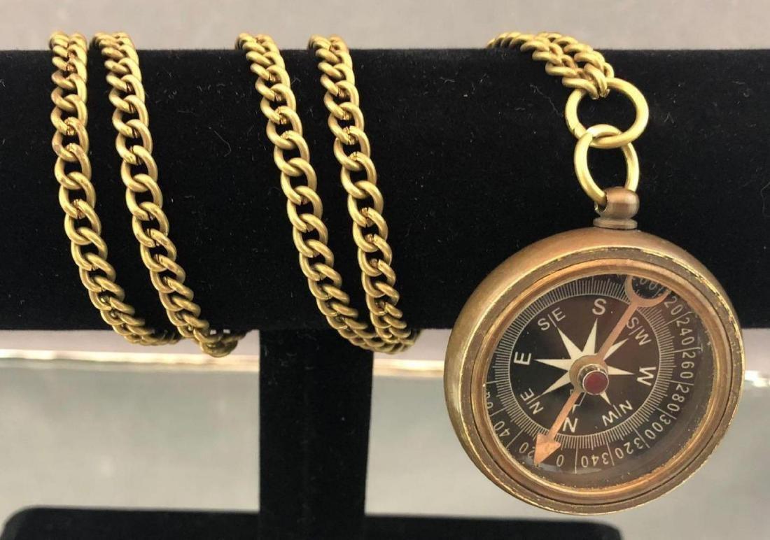 Antique bronze compass on chain - 2
