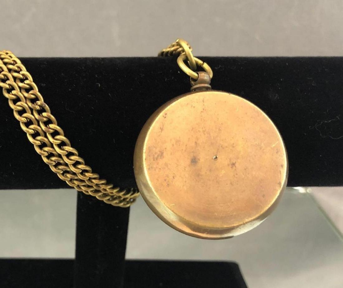 Antique bronze compass on chain - 3