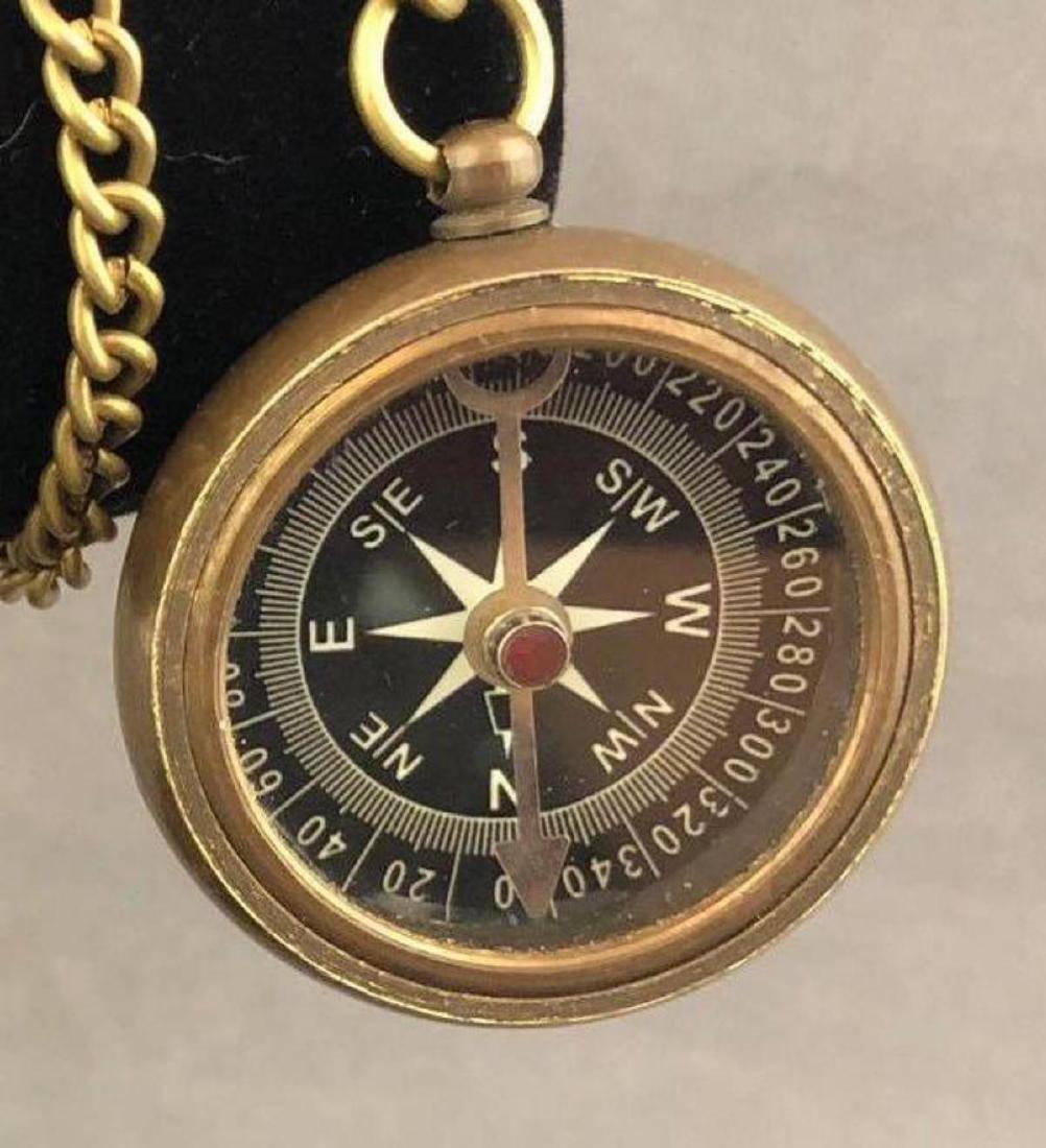 Antique bronze compass on chain - 4