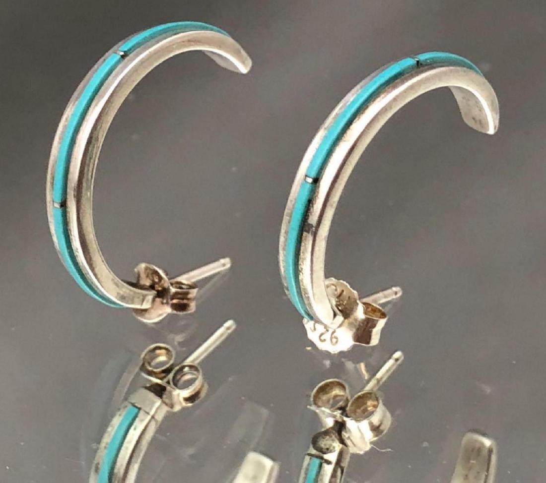 Zuni sterling silver and turquoise half hoop earrings