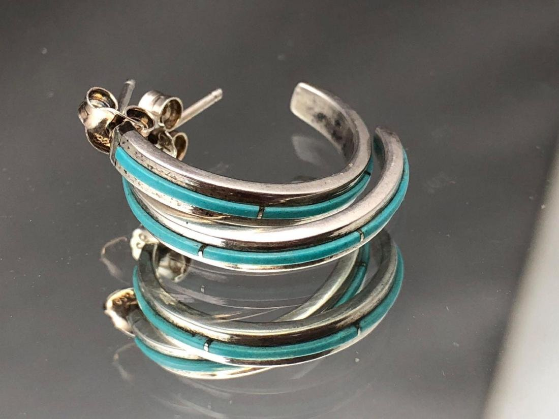 Zuni sterling silver and turquoise half hoop earrings - 2