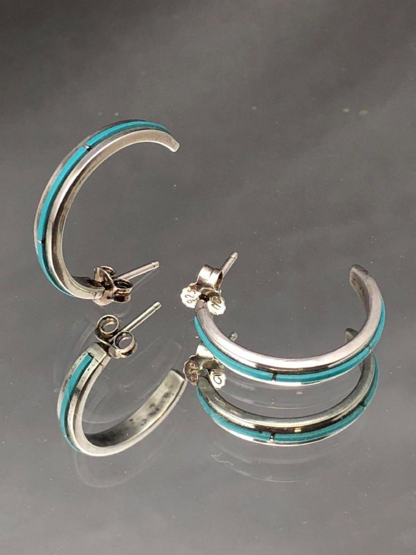 Zuni sterling silver and turquoise half hoop earrings - 4