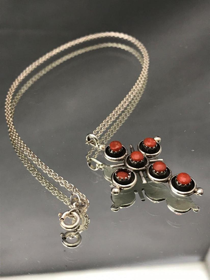Sterling silver and coral cross pendant and chain - 2