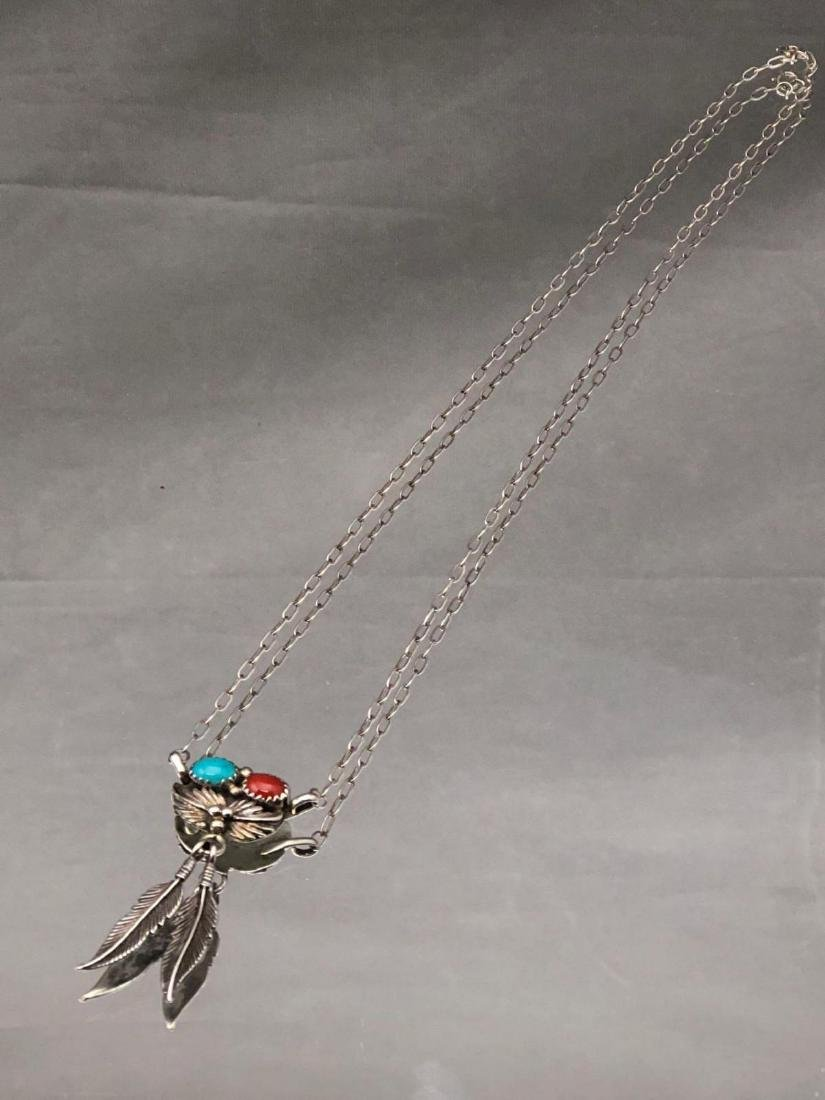 Navajo sterling silver, bezel set turquoise and coral - 2