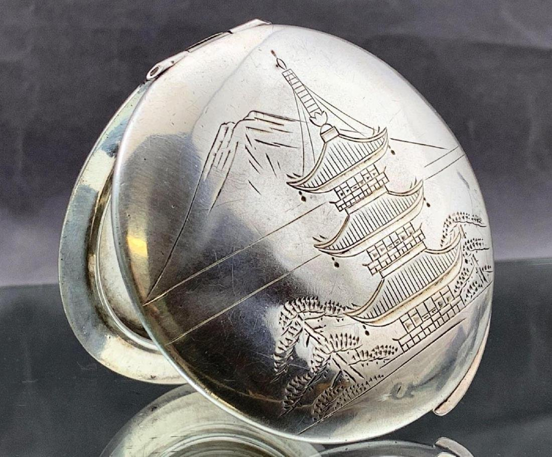 Sterling silver compact with etched Mt. Fuji and temple
