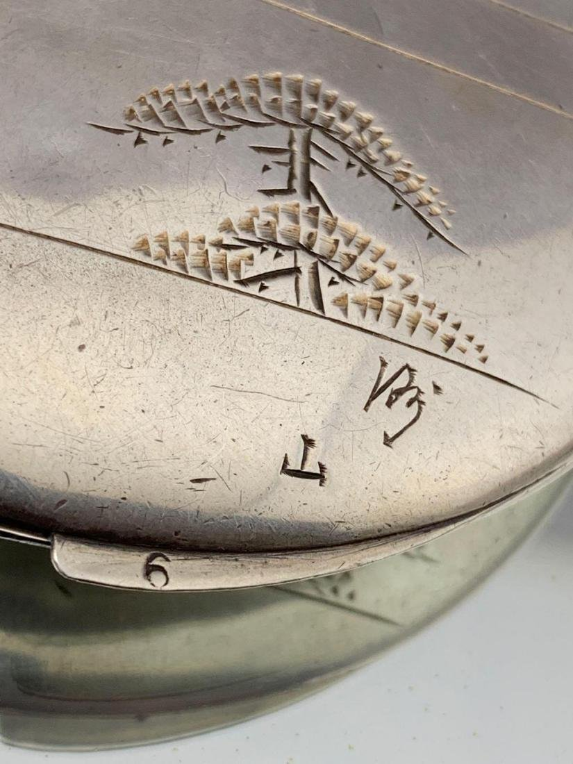 Sterling silver compact with etched Mt. Fuji and temple - 4