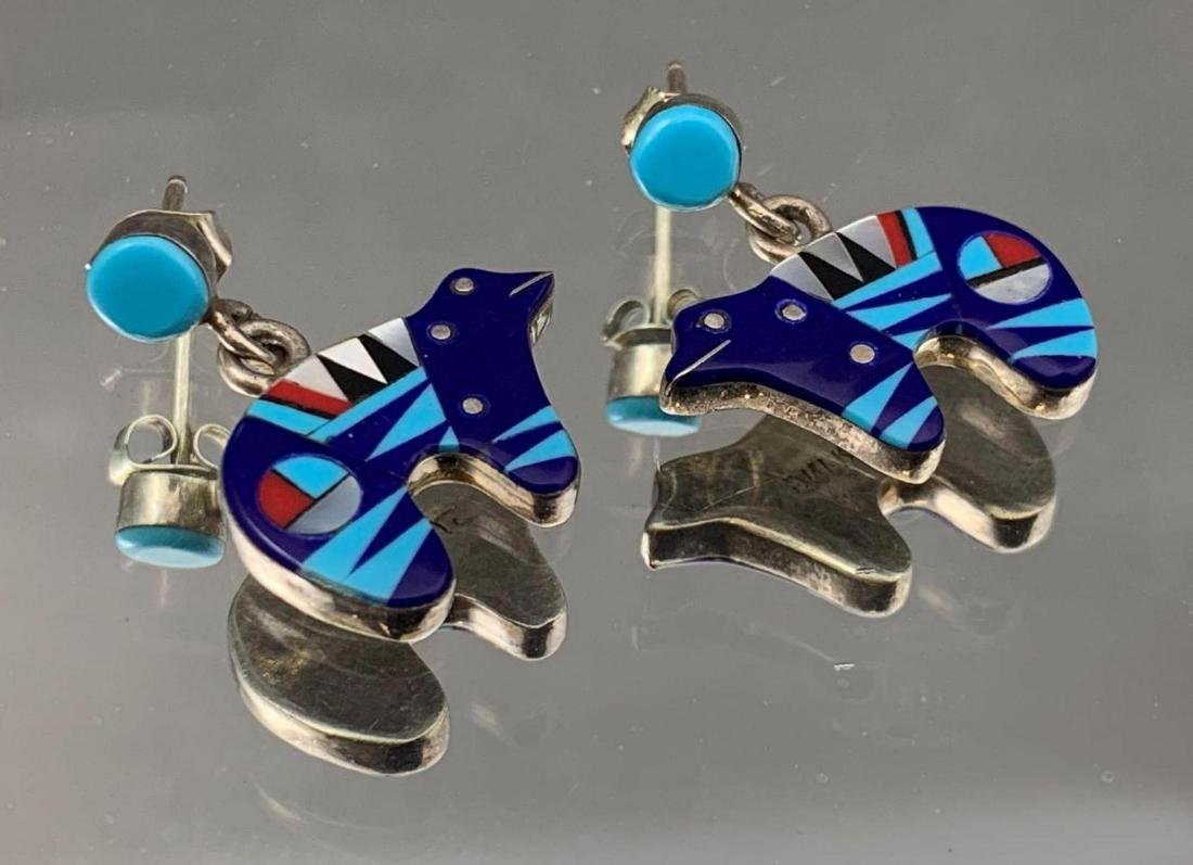 Zuni inlay sterling silver, turquoise, lapis, mother of