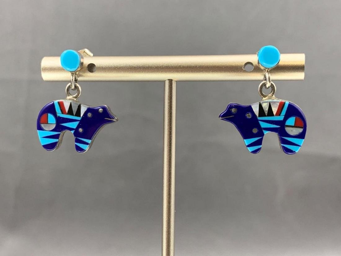 Zuni inlay sterling silver, turquoise, lapis, mother of - 2