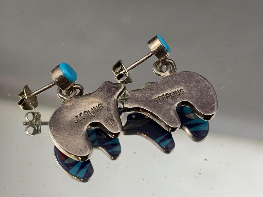 Zuni inlay sterling silver, turquoise, lapis, mother of - 3