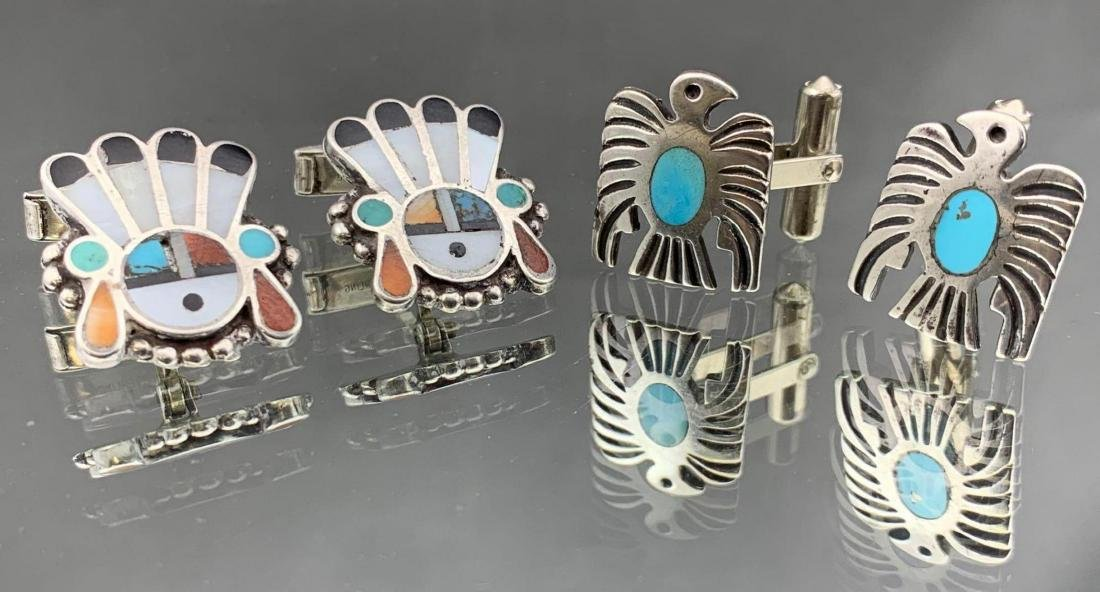 Two pair of sterling silver Native American cufflinks,