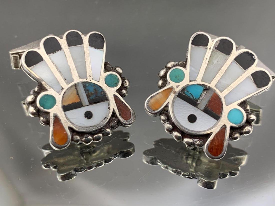 Two pair of sterling silver Native American cufflinks, - 4