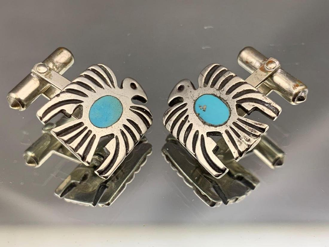 Two pair of sterling silver Native American cufflinks, - 5