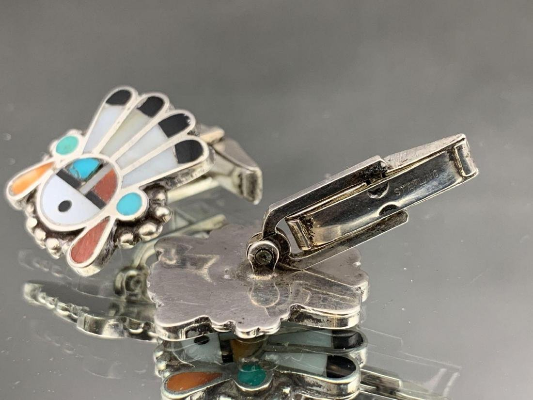 Two pair of sterling silver Native American cufflinks, - 6