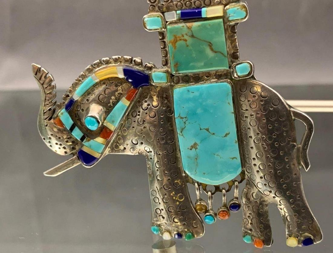 Unusual Native American sterling silver, turquoise, - 2