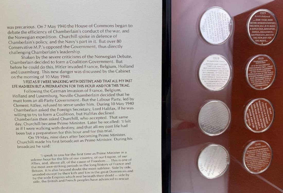 8 piece royal mint silver proof set of Sir Winston