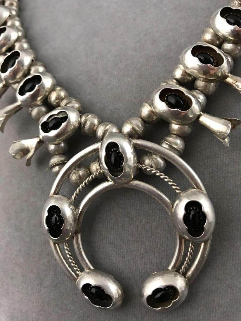 Sterling Silver and Onyx Navajo Old Pawn Squash Blossom - 4