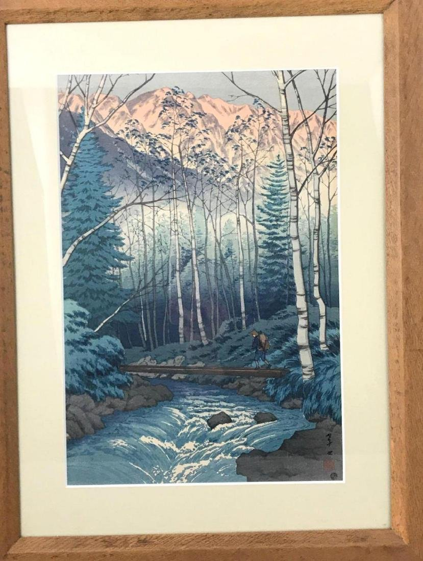 Japanese wood block print titled Dawn at Takegawa of