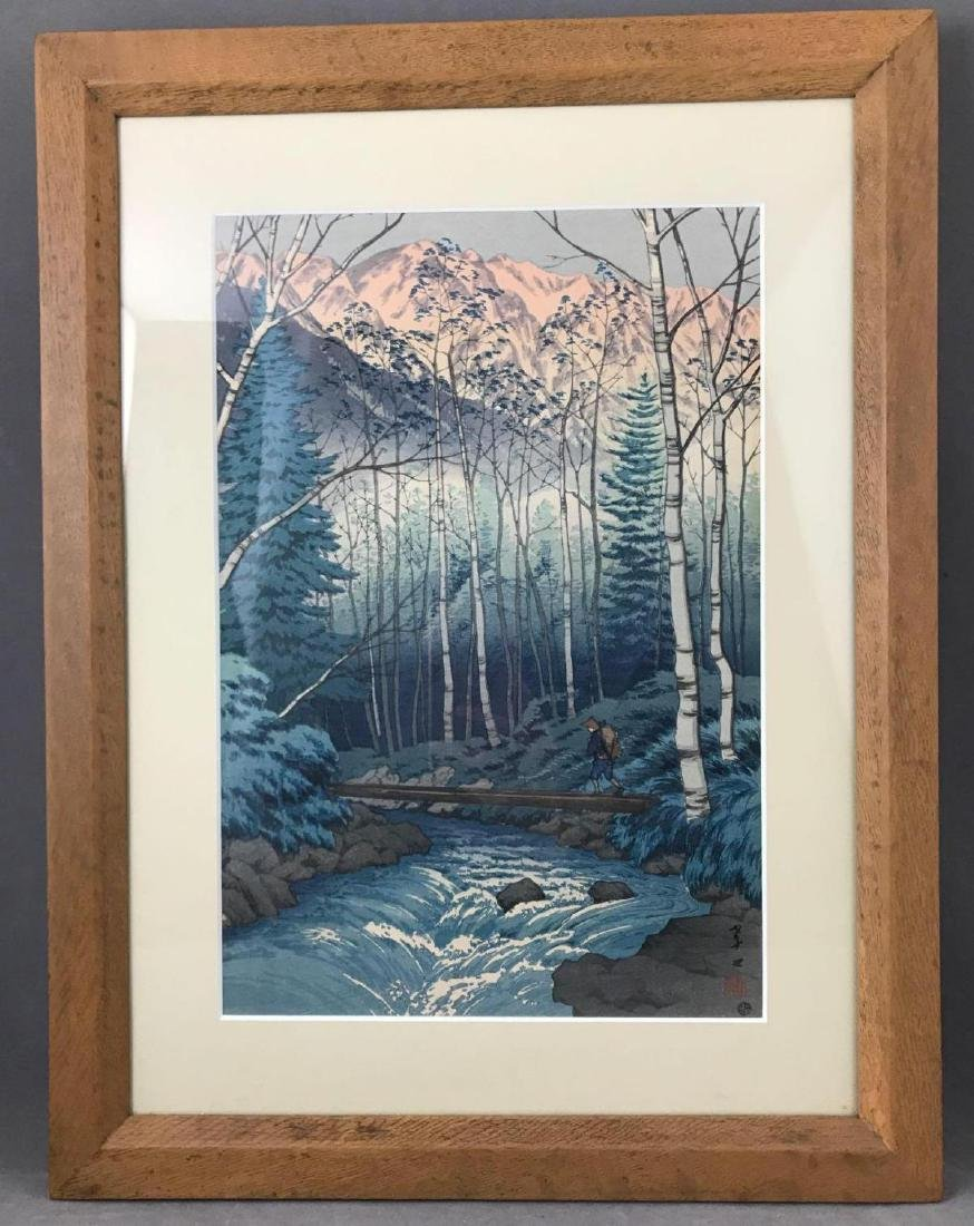 Japanese wood block print titled Dawn at Takegawa of - 2